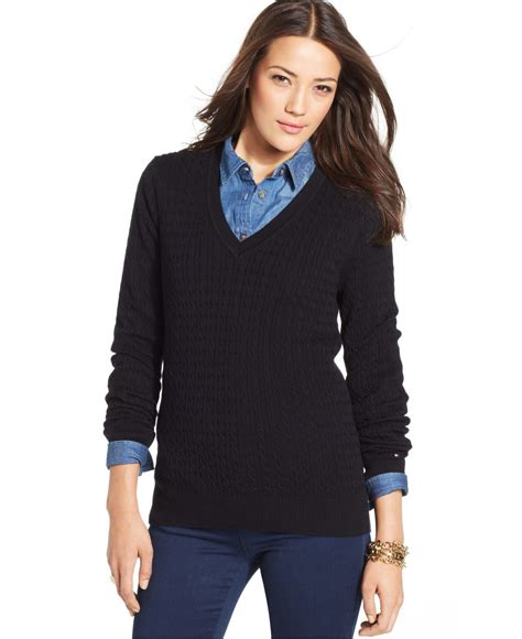 womens black sweater v neck sweaters