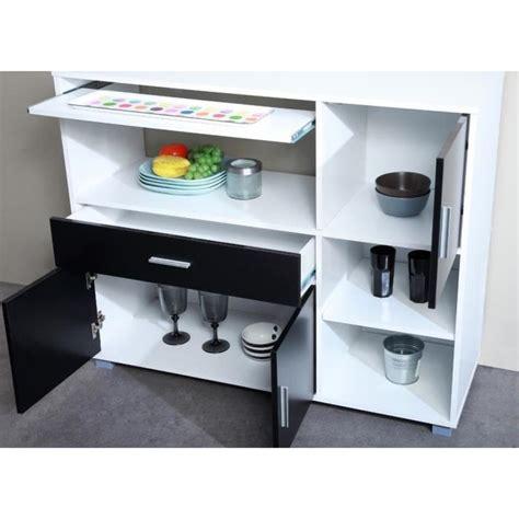 buffet cuisine noir bari buffet de cuisine 110 cm blanc et noir achat