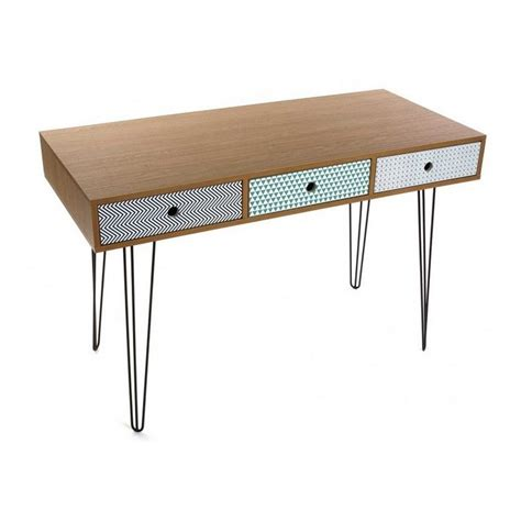 bureau design scandinave table de bureau design scandinave 3 tiroirs multicolores
