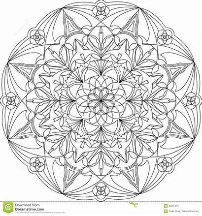 Mandala Coloring Circle Adult Illustration Vector