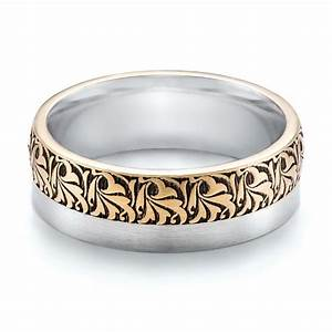 Women39s engraved two tone wedding band 101068 for Two tone wedding rings for women
