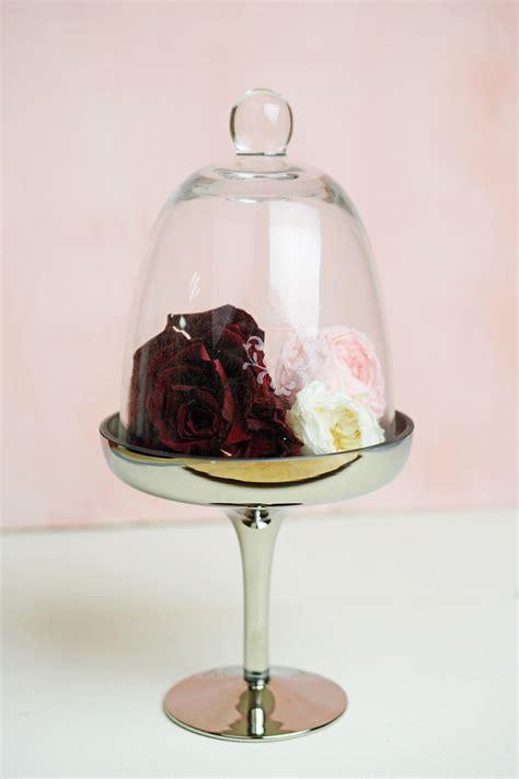 glass silver pedestal  dessert stand cloche