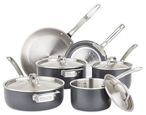 viking  ply hard stainless cookware set  hard anodized exterior  piece contemporary