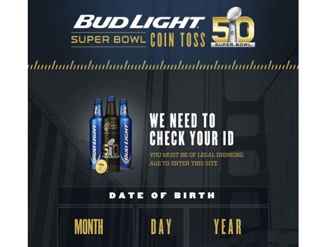 bud light superbowl sweepstakes the bud light super bowl coin toss sweepstakes