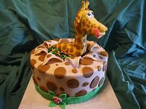 Giraffe Surprise Birthday Cake - CakeCentral com
