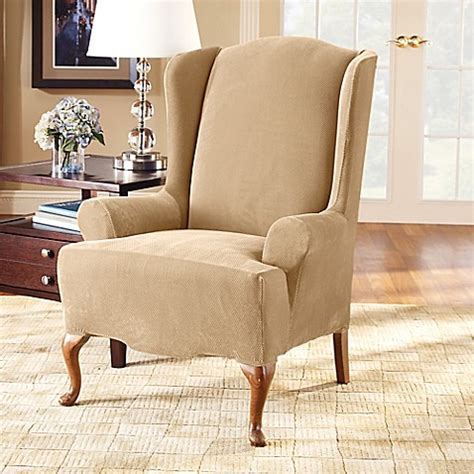fit stretch pique wing chair slipcover bed bath