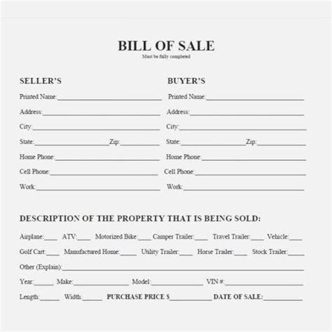 trust  printable texas bill  sale form jeettp