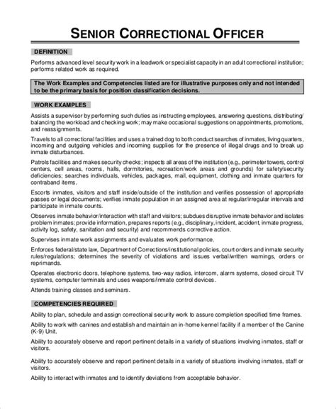 Federal Correctional Officer Resume Sle by Corrections Officer Resume Description 28 Images Exles