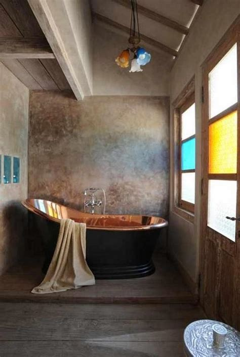 bold bathroom designs  copper bathtub rilane