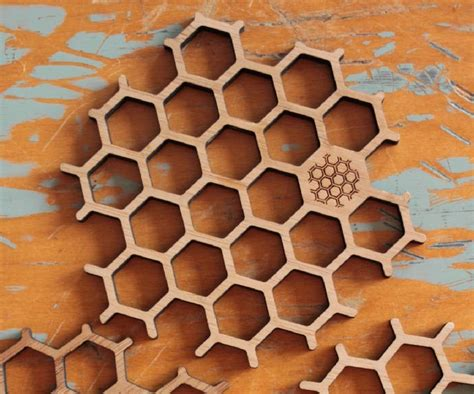 hexagonal bamboo honeycomb coasters set    bu