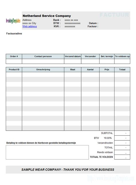 invoicing template  euros