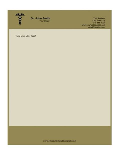 printable doctor letterhead features  caduceus