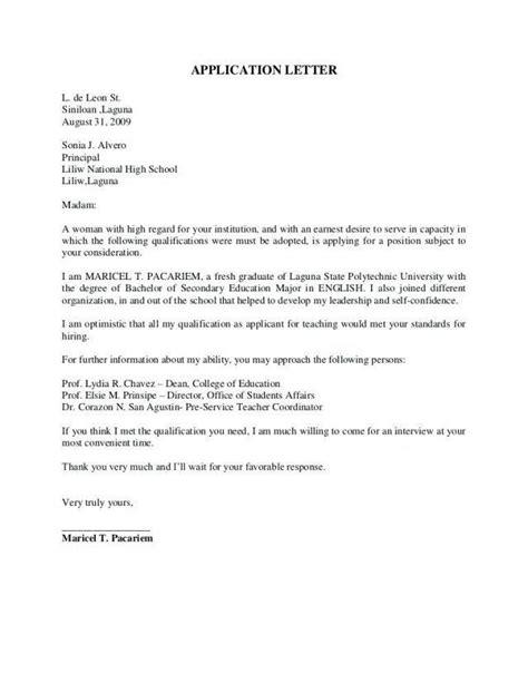 application letter sample  fresh graduate computer
