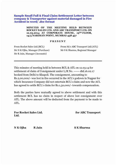 full  final settlement letter template car accident
