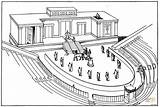 Coloring Theatre Roman Theater Greek Globe Stage Sketch Activities Template sketch template