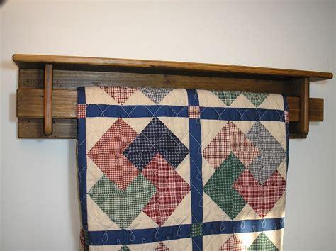 reclaimed wood  foot quilt rack  shelf tc