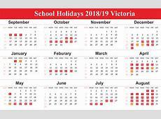 Free Editable School Holidays 2019 Calendar VIC Victoria