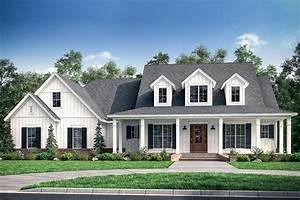 Fresh 4-Bedroom Farmhouse Plan with Bonus Room Above 3-Car ...