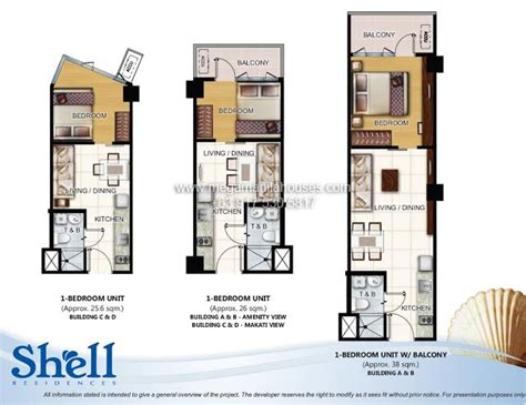 1 Bedroom Unit Layout by Shell Residences Condos For Sale In Mall Of Asia Complex