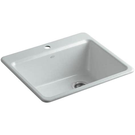 kohler drop in kitchen sinks kohler riverby drop in cast iron 25 in 1 single bowl 8814