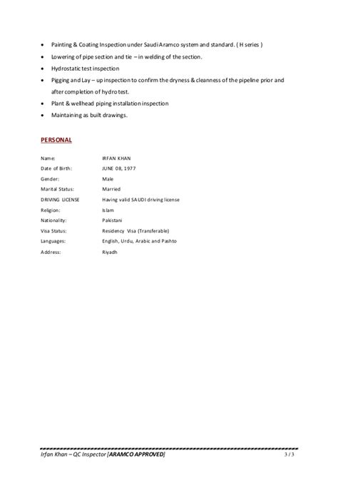 Resume - Irfan Khan QC [ PDF ]