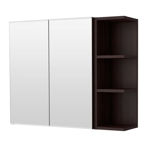 lill 197 ngen mirror cabinet 2 doors 1 end unit black brown