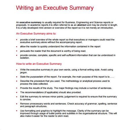 How To Write An Executive Summary For A Resume Exles by Sle Executive Report 5 Documents I N Pdf Word