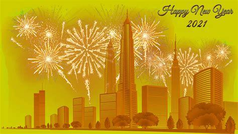 Happy New Year 2021 City Buildings Fireworks 4k Ultra Hd ...