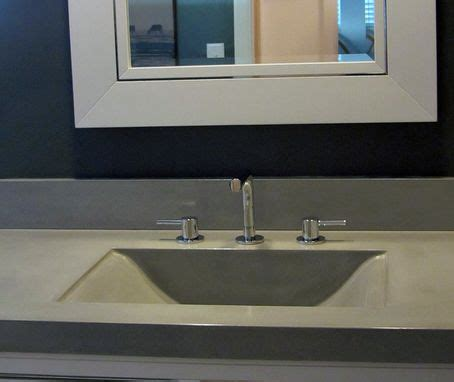 hand crafted concrete countertop  integrated sink