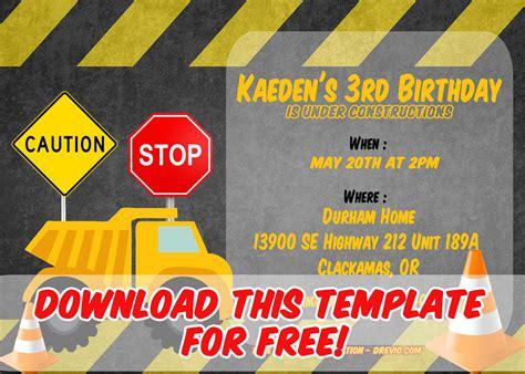printable construction vehicles birthday invitation