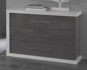 Commode Blanc Laqué : commode 3 tiroirs ancona laque blanc gris ~ Teatrodelosmanantiales.com Idées de Décoration