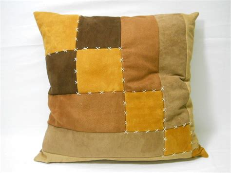 Brown Patches Couch Cushion Accent Pillow-brown/beige