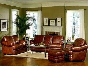 deep brown leather sofa set for traditional living room With leather living room decorating ideas