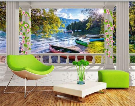 canape geant tapisserie trompe l 39 oeil paysage 3d papier peint