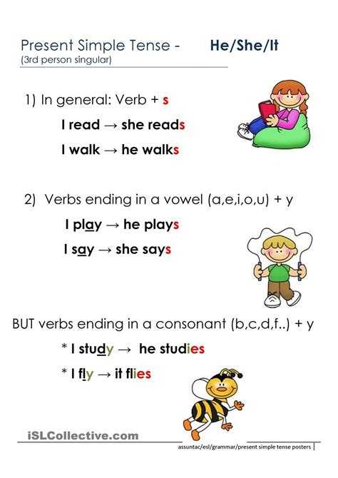 person present simple rules english grammar  kids