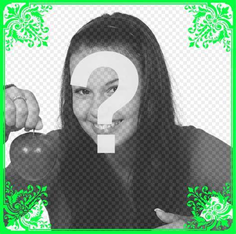 Modificare Foto Cornici Colpisce Cornice Verde Con Fiori Ornamento Per Modificare