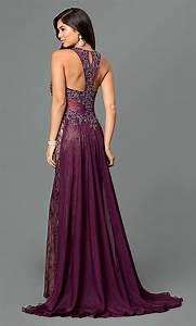 Eggplant Purple Long Embroidered Prom Dress