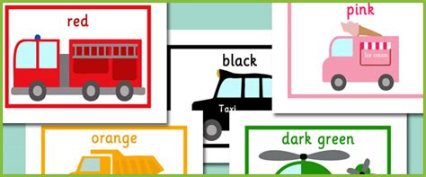 Vehicle Themed Colour Flash Cards