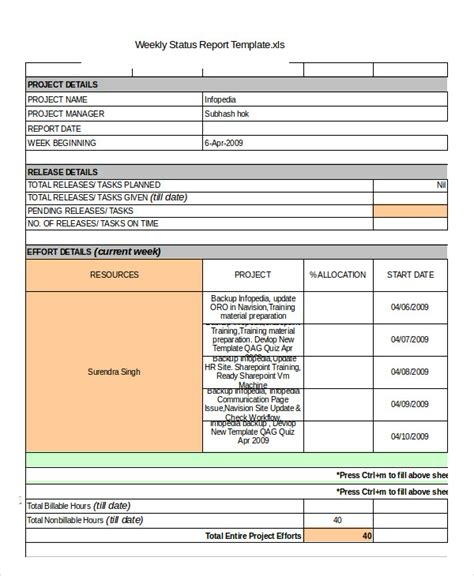 status report template   word  documents