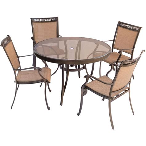 glass patio table and 4 chairs hanover traditions 5 piece patio outdoor dining set with 4