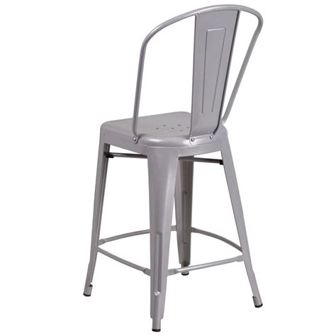 24 quot tolix style matte silver metal counter stool with back tabouret tolix style stools chairs