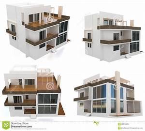 maison moderne de la collection 3d illustration stock With plan d appartement 3d 16 appartement terrasse moderne illustration stock image