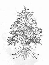 Coloring Bouquet Flower Pages Flowers Print Template Roses Templates Recommended Boquet sketch template