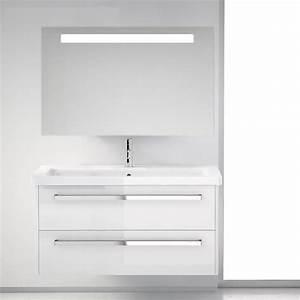 Meuble de salle de bains SMILE 2 tiroirs blanc 100 cm plan vasque et miroir Bainissimo