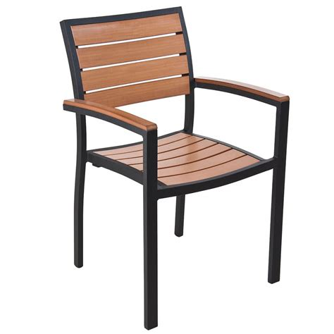 Bfm Seating Ph101ctkbl Largo Stackable Outdoor Teak Chair