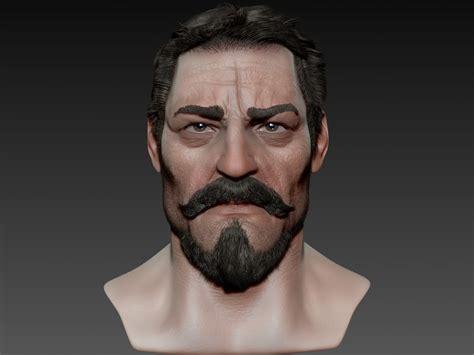 macho realistic male head  model