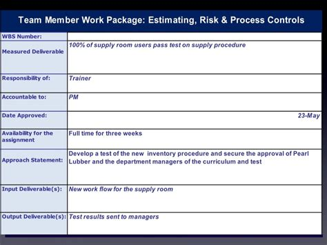 Project Management Work Package Template Work Package