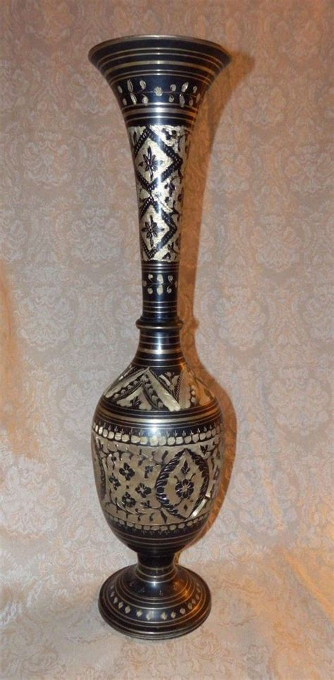 large black brass  gold etched floral design art deco vase india   home vase