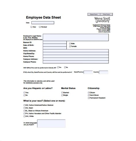 employee information form pdf new employee data form template employee personal