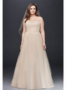 a line beaded lace tulle plus size wedding dress davids With david s bridal simple wedding dresses